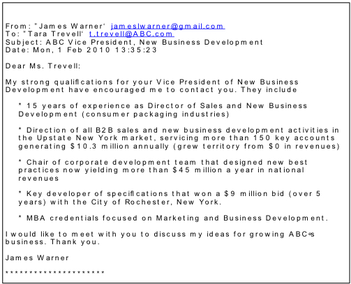 Formatted Sample Email Cover Letter Example